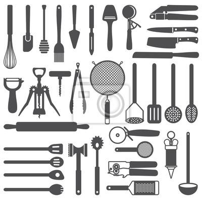 Silueta iconos utensilios de cocina conjunto de vectores fotomural fotomurales cocina - Fotomural para cocina ...