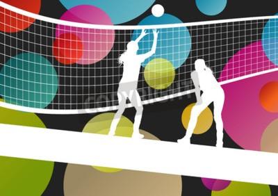 Fotomural Siluetas de jugador de voleibol en el deporte ilustración vectorial de fondo abstracto