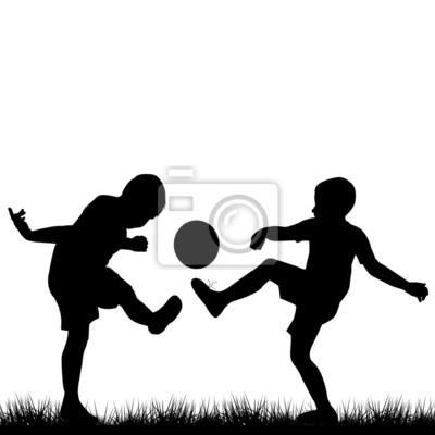 Siluetas De Ninos Jugando Al Futbol Fotomural Fotomurales Ahogar