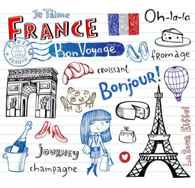 Fotomural Símbolos Francia como garabatos cobardes