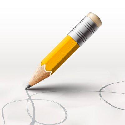 Fotomural Simple lápiz sobre fondo blanco, ilustración vectorial de eps10.
