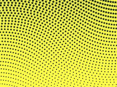Fotomural Simple retro ondulado de medias tintas patrón de estrellas negras en un amarillo ba