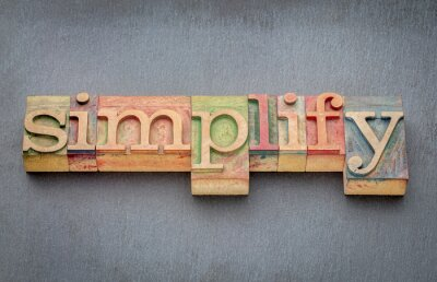 Fotomural Simplificar palabra en tipo de madera