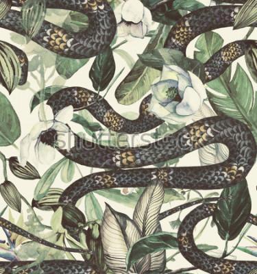 Fotomural Sin fisuras patrón de acuarela con flores tropicales, magnolia, flor de naranja, orquídea vainilla, hojas tropicales, hojas de plátano