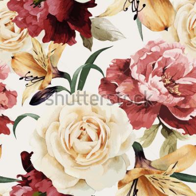 Fotomural Sin fisuras patrón floral con rosas, acuarela. Ilustracion vectorial