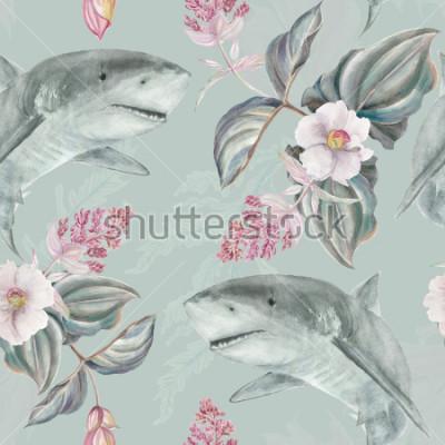 Fotomural Sin fisuras patrón floral ilustrado a mano con rosa Medinilla Magnifica y tiburón