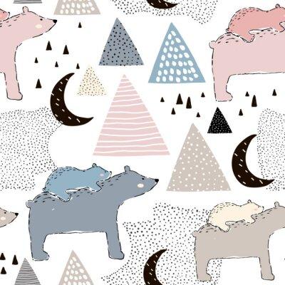Fotomural Sin fisuras patrón infantil con oso polar mamá y bebé. Diseño creativo para niños. Perfecto para tela, textil, warpping, vivero. Ilustración de vector