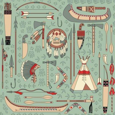 Fotomural sin patrón, con los atributos nativos americanos