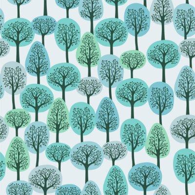 Fotomural sin patrón, con un bosque de invierno