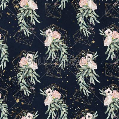 Fotomural Sin patrón patrón floral olea acuarela con ramas de olivo, hojas, ramos de flores de flores, salpicaduras de pintura y formas geométricas de oro sobre fondo negro