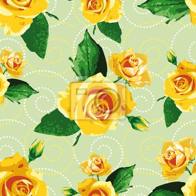 Fotomural Sin Problemas De Fondo Patron Con Flores Amarillas Rosa