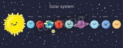 Fotomural Sistema solar con los planetas, el sol y la luna sonrientes lindos. Ilustración del vector