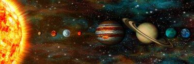 Fotomural Sistema solar, planetas en una fila, ultra-amplio