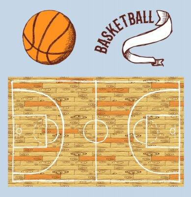 Fotomural Sketch juego de baloncesto con la cancha y la pelota