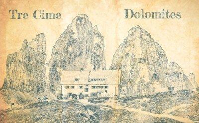 Fotomural Sketch of Dreizinnen hut in Tre Cime, Dolomites