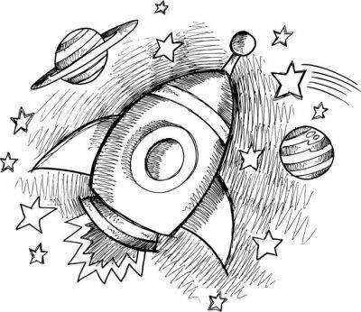 Fotomural Sketch Outer Space Rocket lindo del vector