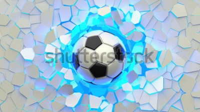 Fotomural Soccer ball crash blue lighting white wall. The wall was cracked. 3D illustration. 3D high quality rendering.