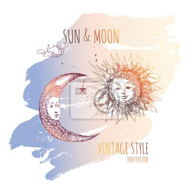 Sol Y Luna Ilustración De Sketchvector Dibujo De Pluma Y Tinta