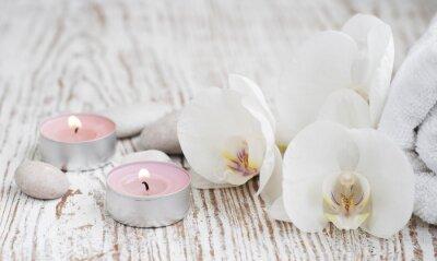Fotomural Spa conjunto con orquídeas blancas