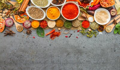 Fotomural Spices and herbs.Food and cuisine ingredients.