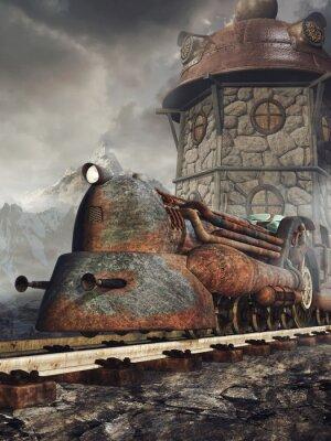 Fotomural Stara zardzewiała Lokomotywa na tle wieży