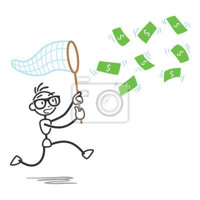 Stickman, persecución, dinero, cuentas, neto fotomural • fotomurales ...