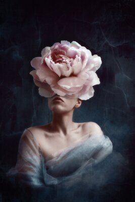 Fotomural Strange fine art concept. The body of a woman, her head is a peony