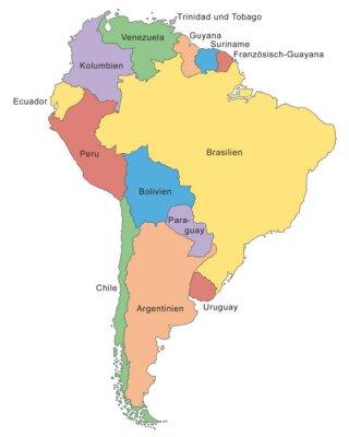 Fotomural Südamerika Karte in Farbe (con descripción)