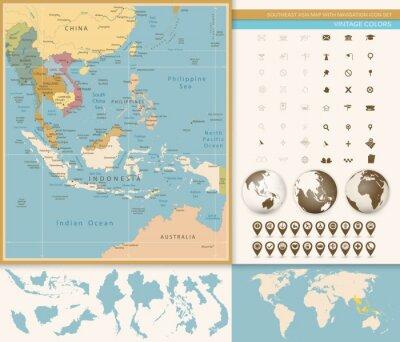 Fotomural Sudeste de Asia Mapa detallado con el icono de navegación.