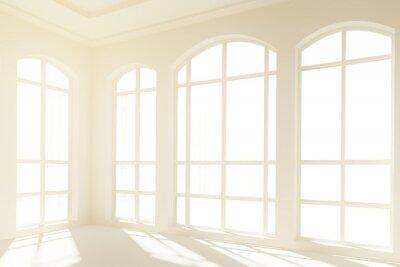 Fotomural Sunny interior blanco con grandes ventanas