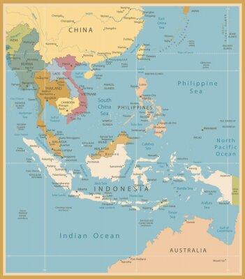 Fotomural Sureste de Asia Mapa Detallado Vintage Colores