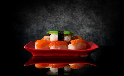 Fotomural Sushi en la placa roja