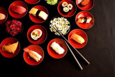 Fotomural Sushi with chrysanthemums