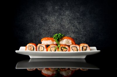 Fotomural Sushi y rollos en plato