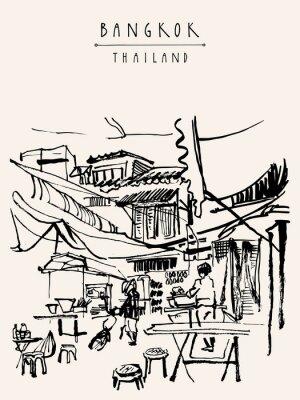 Fotomural Tailandia de Bangkok dibujó a mano la postal