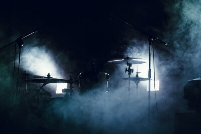 Fotomural Tambor puesto en humo en una etapa