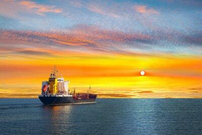 Fotomural Tanker ship on calm sea in the morning.