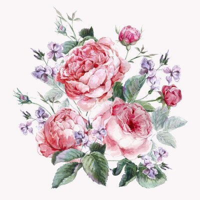 Fotomural Tarjeta de felicitación clásica del vintage floral, ramo de la acuarela de