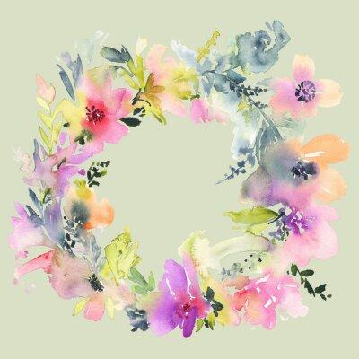 Fotomural Tarjeta de felicitación con flores. Colores en colores pastel. Hecho a mano. Pintura de acuarela. Boda, cumpleaños, día de la madre. Despedida de soltera.