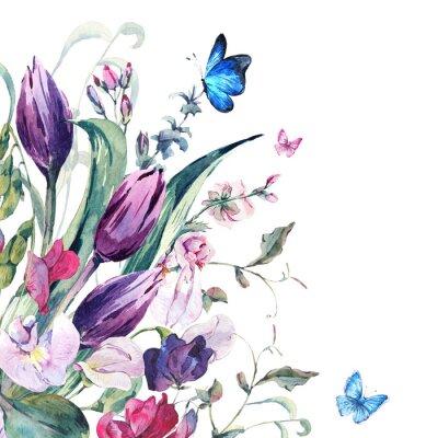 Fotomural Tarjeta de felicitación de la acuarela con los guisantes, tulipanes
