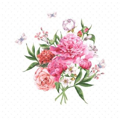 Fotomural Tarjeta de felicitación de la vendimia de la acuarela con Flores florecientes y