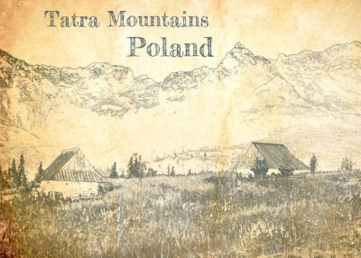 Fotomural Tatra mountain in Poland, sketch on old paper