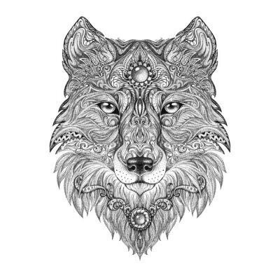 Fotomural Tattoo head wolf wild beast of prey