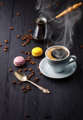 Fotomural Taza de café con grano y cezve