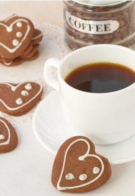 Fotomural Taza de café y galletas de chocolate