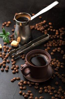 Fotomural Taza de café y granos de café