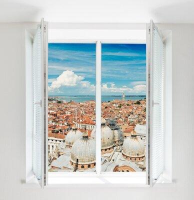 Fotomural Techos de Florencia visto a través de la ventana
