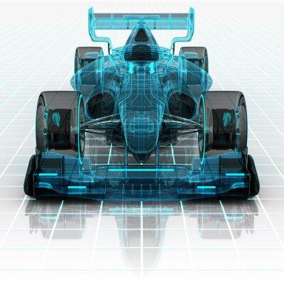 Fotomural tecnología de los automóviles fórmula alambre vista frontal boceto