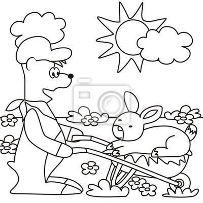 Teddy y de conejo para colorear fotomural • fotomurales roer ...