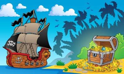 Fotomural Tema de pirata con cofre del tesoro 1